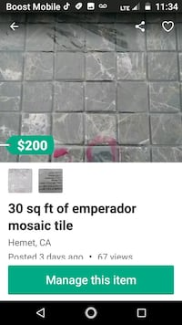 30 sq ft of mosaic/backsplash tile 2212 mi