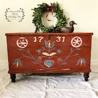 Antique original red coloured trunk with new hand painted details Mississauga, L5G 2K4