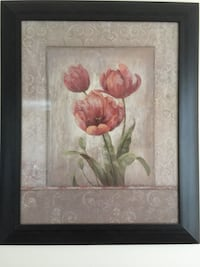 brown wooden framed painting of red flowers Toronto, M2K