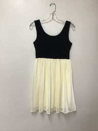 Women's BRAND + LABEL pale yellow and black sleeveless dress... small