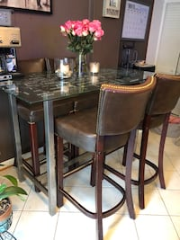 Leather bar stools and glass high table Springfield, 22152
