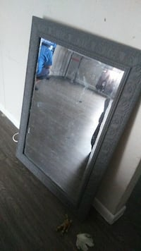 grey wooden framed mirror