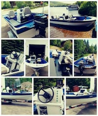 white and blue speed boat