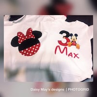 two white Minnie and Mickey Mouse t-shirts