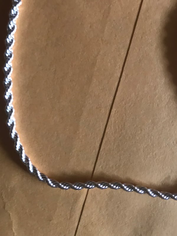 "SOLID UNISEX STERLING SILVER ROPE CHAIN 24"" 1"