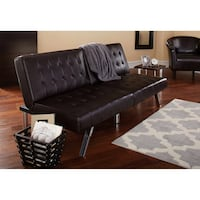 Black leather tufted sectional sofa Charlotte, 28270