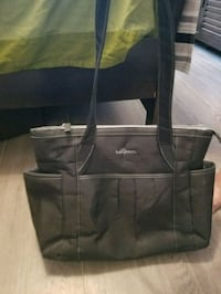 black and gray leather tote bag Brossard