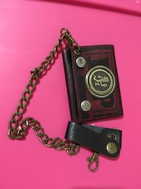 red and black leather hatchetman tri-fold wallet with chain Dundalk, 21222