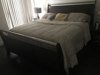 Brown wooden king size, bed frame and white mattress 903 mi