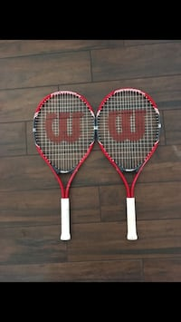 Two red and white tennis rackets Long Beach, 90804