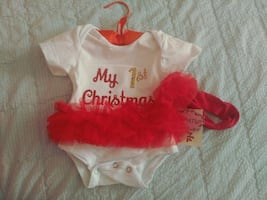 My first Christmas onesie with hairband