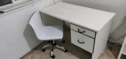 White office desk and chair