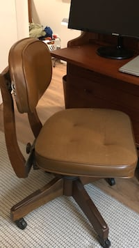 Vintage Solid Wood and Leather Rolling Desk Chair