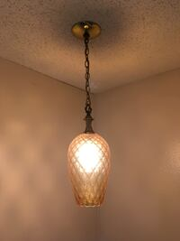 Vintage hanging light brown  tinted glass pendant lamp Portland, 97212