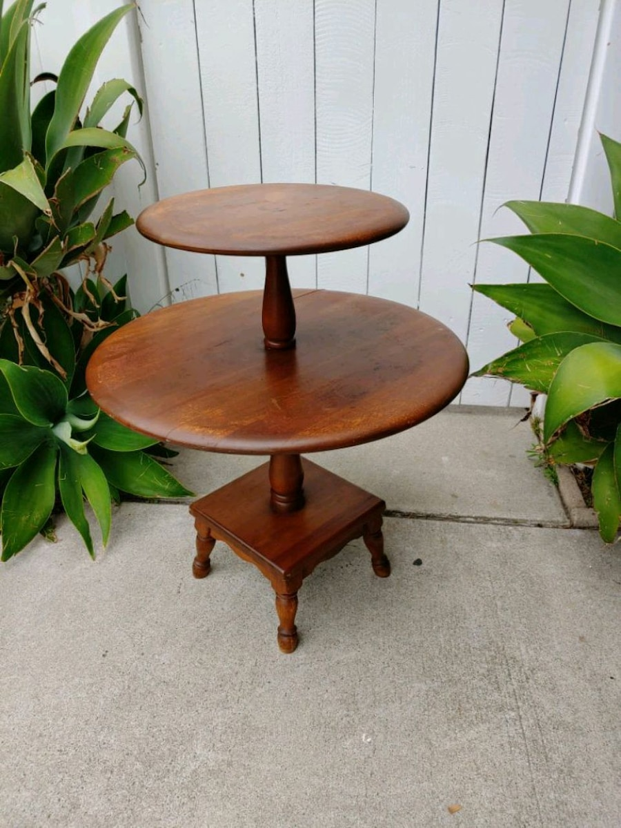 Used Round Two Tier Vintage End Table Night Stand With For Sale In Orange    Letgo