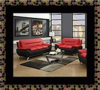 Red black sofa and loveseat two tone Adelphi