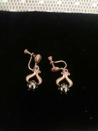 Sterling and black pearl antique earrings