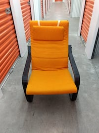 IKEA POANG chair with orange cushions