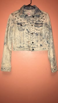 white and blue denim button-up jacket