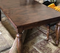 SOLID Dinning Table With Internal Extension Leaf. Larger Table With Bench. Aurora, 80014
