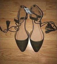CHARLOTTE RUSSE Olive Green Tie Up Flats
