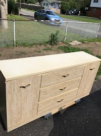 white and beige wooden sideboard