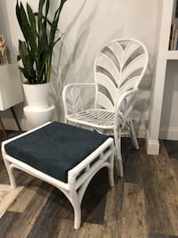 Vintage bamboo chair and stool