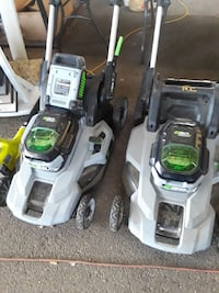 two black-green-gray push-lawn mowers Fort Worth, 76114