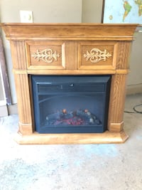 brown and black electric fireplace Schaumburg, 60193