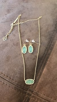 Kendra Scott Lee earrings and Eliza necklace in /Chalcedony /Gold Corpus Christi, 78414