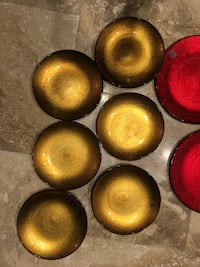 NEW Crate & Barrel Marrakech Shimmer Gold Red Glass Plate Holiday Dinnerware Set Tampa, 33629