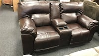 Top Quality leather with console storage cup holder loveseat
