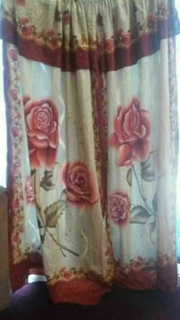 white and red floral print window curtain