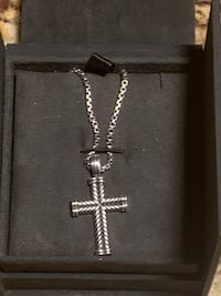 "David Yurman necklace 22""box chain with cross charm sterling silver Peabody, 01960"