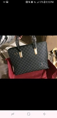 damier graphite Louis Vuitton leather tote bag 358 mi