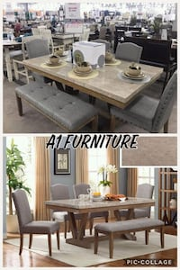 6PC Marble Dining Set with Bench! Houston, 77020