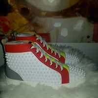 pair of studded white-red-and-gray high-top sneakers Milwaukee, 53210