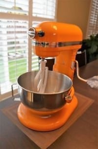Orange and stainless steel Kitchen Aid stand mixer