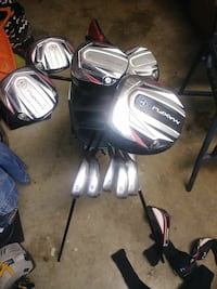 black-red-and-gray golf club set