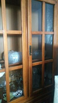 brown wooden framed glass display cabinet Laval, H7T 1W8