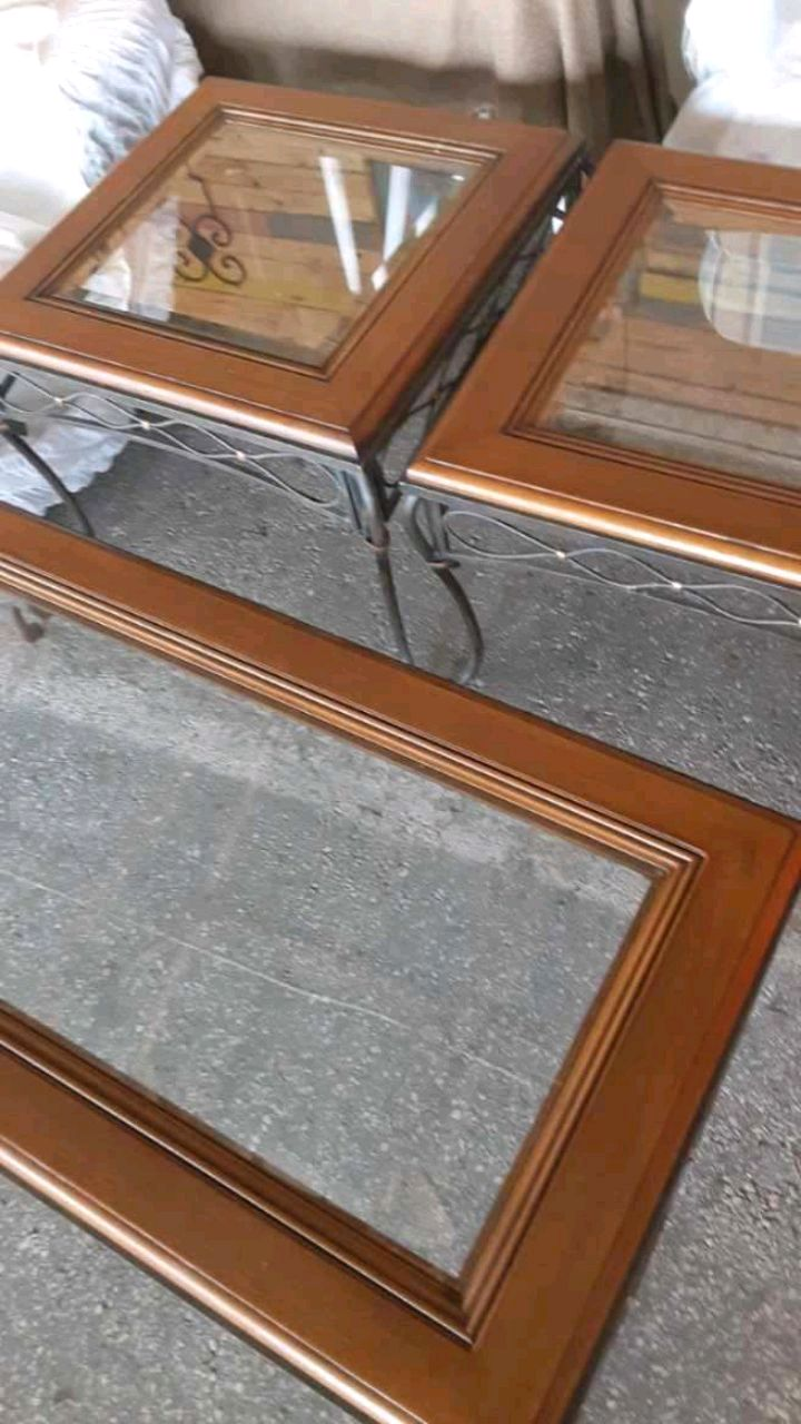 Photo 3 piece living Room tables heavy wrought iron &wood with glass centers
