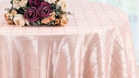 "120"" Round and rectangular Pintuck Taffeta Tablecloth - Blush Pink Stafford, 22554"
