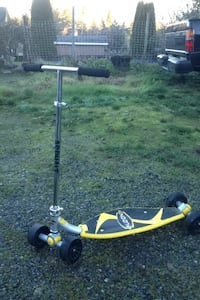 Yellow and black kick scooter