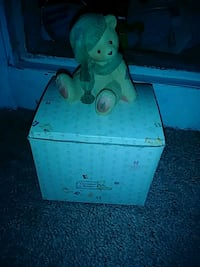 Teddy bear ceramic figurine with box