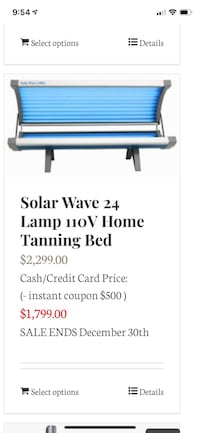 Selling two tanning beds