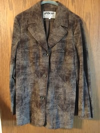 Distressed faux suede jacket made in Italy -sz 44/8