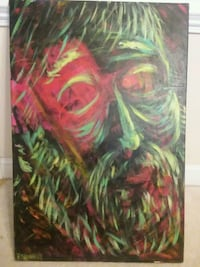 "Wall Painting Signed Patrick Shanahan ""Green Guy"" Rolesville, 27571"