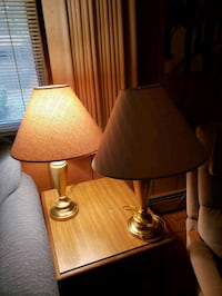 two brass base table lamps with white lampshades Virginia Beach, 23452