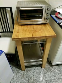 GREAT SOLID WOOD AND STAINLESS STEEL  KITCHEN TABLE STAND