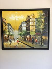 Framed Paris original art painting Toronto, M6A 2K2